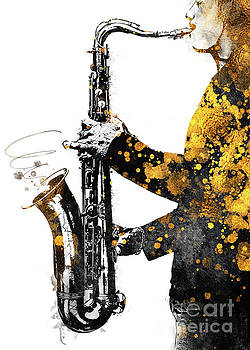 Saxophone music art gold and black by Justyna Jaszke JBJart
