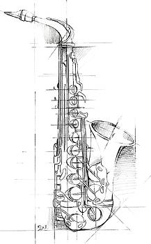 Saxophone Sketch Wall Art by Ethan Harper