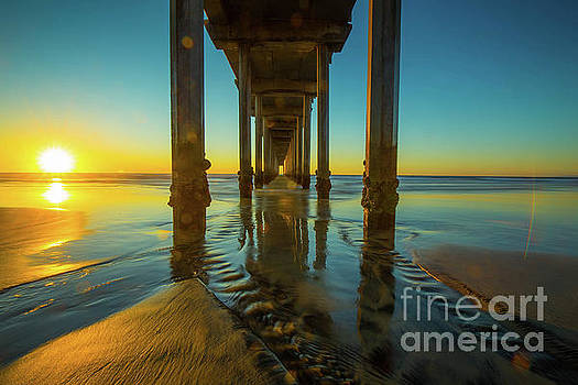 Scripps Pier San Diego Sunset 2 by Edward Fielding