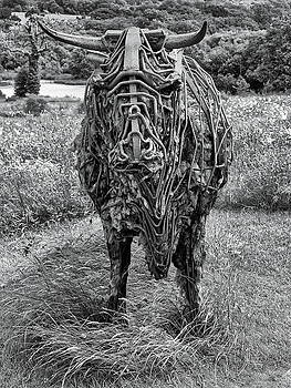 Sculpture Of A Bull Monochrome by Jeff Townsend