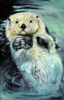 Sea otter painting by Belette Le Pink
