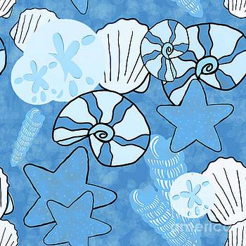 Sea Shell Blue Seamless by Priscilla Wolfe
