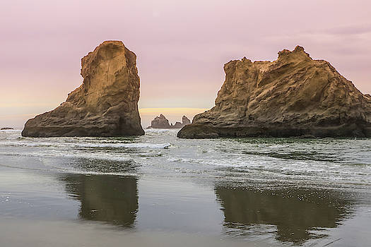 Sea Stack and Spires Sunset 1, Bandon Beach, Oregon by Dawn Richards