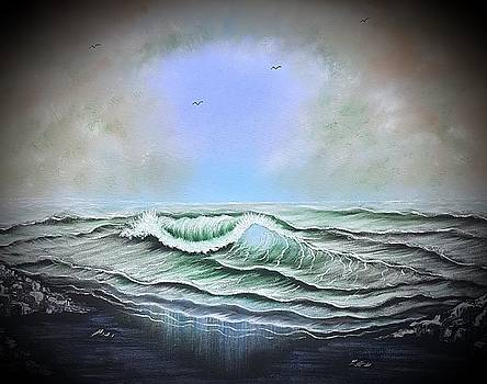 Seascape enchantment glow blue by Angela Whitehouse