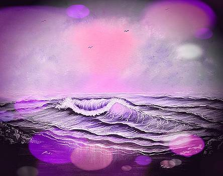 Seascape enchantment glow stardust purple and pink mix by Angela Whitehouse