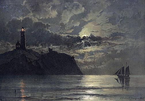 Carl Frederik Sorensen - Seascape with Lighthouse
