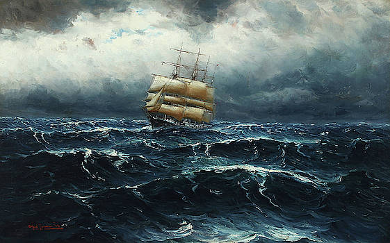 Alfred Jensen - Seascape with Sailing Boat in Rough Sea
