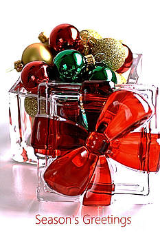 Seasons Greetings With Baubles by Joy Watson
