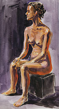 Irina Sztukowski - Seated Nude Model Study In Gouache