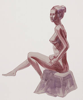 Irina Sztukowski - Seated Nude Woman Watercolor