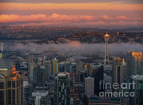 Seattle at Dawn Golden Sunrise by Mike Reid