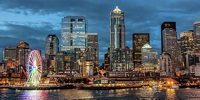 Seattle at Night by Linda Burek