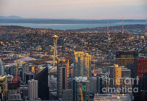 Seattle Cityscape Golden Morning Light by Mike Reid