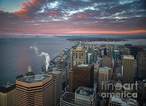 Seattle Cityscape Sunrise Clouds by Mike Reid