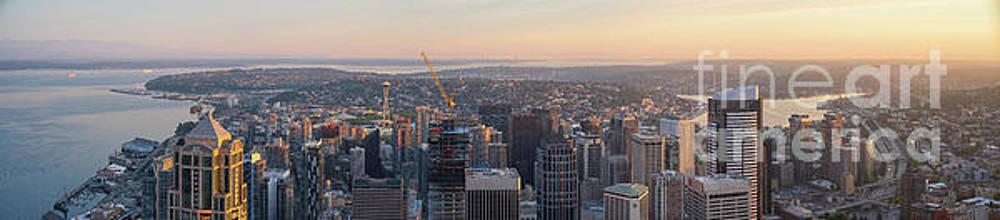 Seattle Dawn Light Panorama by Mike Reid