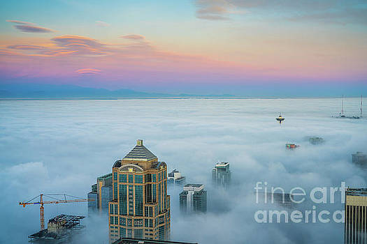 Seattle Emerges from the Clouds at Dawn by Mike Reid