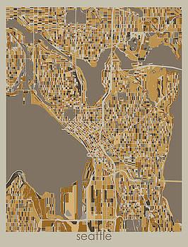 Seattle Map Retro 4 by Bekim M