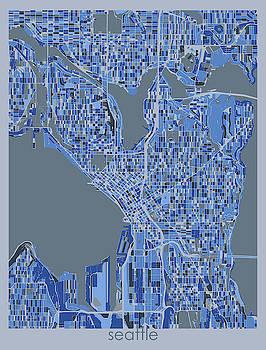 Seattle Map Retro 5 by Bekim M