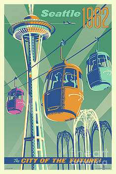 Seattle Poster- Space Needle Vintage Style by Jim Zahniser
