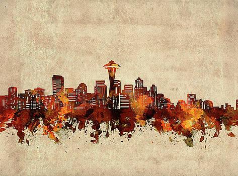 Seattle Skyline Sepia by Bekim Art