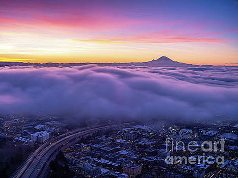Seattle Sunrise City Under the Clouds by Mike Reid