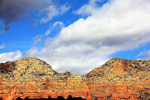 Sedona Jack's Trail blue sky, clouds red rock hills 5032 3 by David Frederick