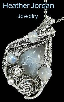 Selenite Wire-Wrapped Pendant in Antiqued Sterling Silver with Rainbow Moonstone by Heather Jordan