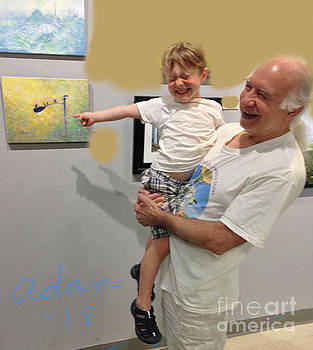 Felipe Adan Lerma - Self Portrait 13 - Viewing My Art with Max at Jerrys Artarama 2018