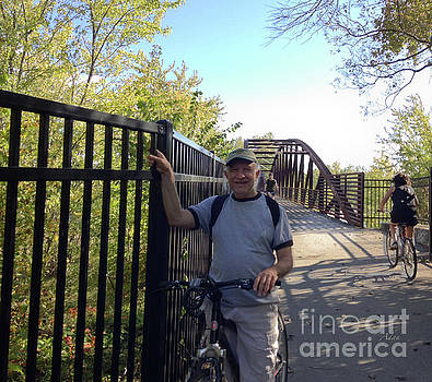 Felipe Adan Lerma - Self Portrait 16 - Bicycling the Winooski River Bridge Bike Path Burlington Vermont
