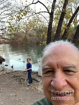 Felipe Adan Lerma - Self Portrait 18 - Taking Pics With Grandson at Barton Springs