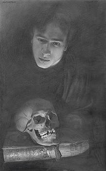 Self-portrait with a Scull by Denis Chernov