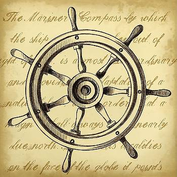 Sepia Captain s Wheel Wall Art by Ethan Harper