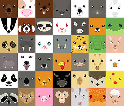 Set Of Cute Simple Animal Faces by Olesia Misty