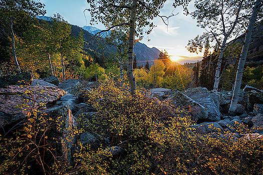 Setting Sun over the Wasatch in the Fall by James Udall