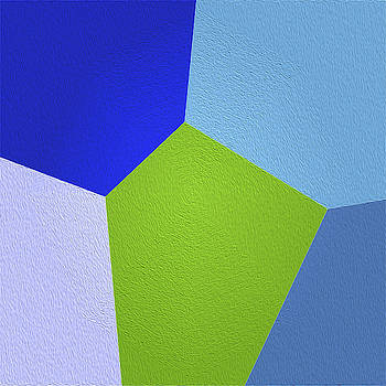 Shades of Blue and Lime Green Hexagon by Jennifer Stackpole
