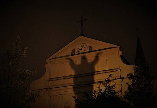 Shadow Ascension At The St. Louis Cathedral In The French Quarter by Michael Hoard