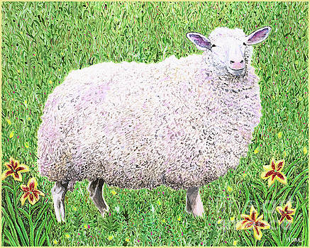 Sheep with Lilies by Lise Winne