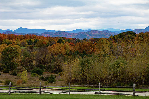 Shelburne Museum view of Vermont fall colors by Jeff Folger