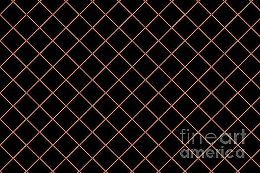 Sherwin Williams Cavern Clay SW7701 Thin Line Stripe Grid on Black by Melissa Fague