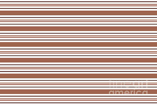 Sherwin Williams Cavern Clay SW7701 Tri-color Thick and Thin Horizontal Lines Bold Stripes by Melissa Fague