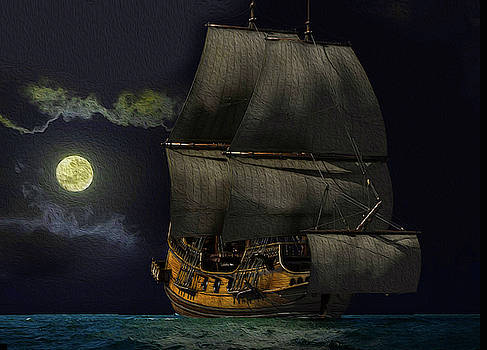 Ship by moonlight by Lutz Roland Lehn