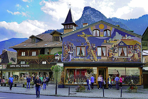 Shopping District In In Oberammergau Germany by Richard Rosenshein