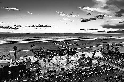 Showers Over The Bay - Black And White by Gene Parks