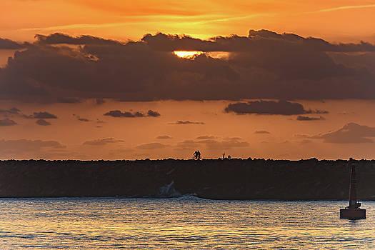 Silhouettes, Breakwall and Sunrise Seascape by Merrillie Redden