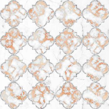 Tina Lavoie - Silver and Rose Gold Marble Arabesque Quatrefoil Pattern