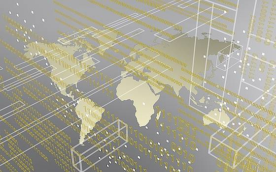 Silver And Tech Image Of Urban Worldmap by Alberto RuiZ