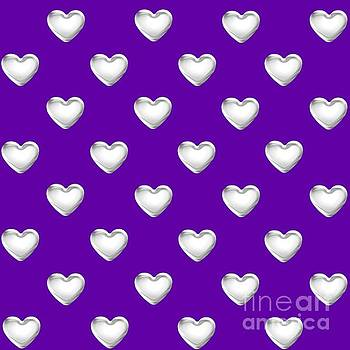 Rose Santuci-Sofranko - Silver Hearts on a Purple Background Saint Valentines Day Love and Romance