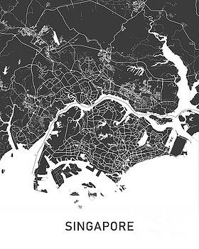 Singapore map black and white by Delphimages Photo Creations