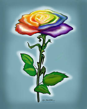 Single Rainbow Rose by Kevin Middleton
