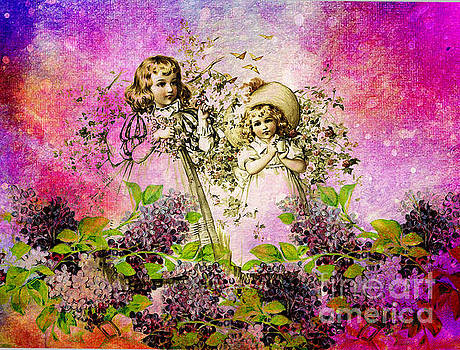 Sisters Collecting Flowers  by Tammera Malicki-Wong